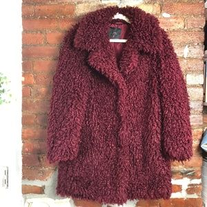 Zara Burgundy Teddy Aviator Coat Size Medium